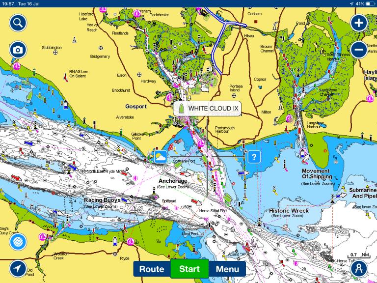 Aplicación Navionics con Digital Yacht