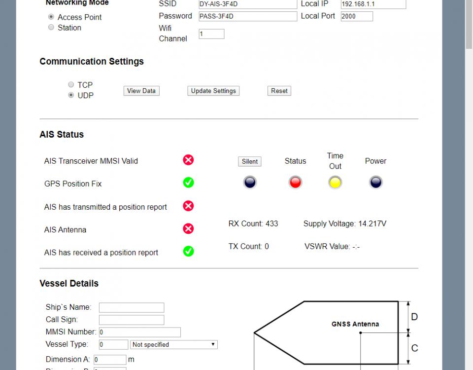 configurar un transpondedor AIS con la interfaz web
